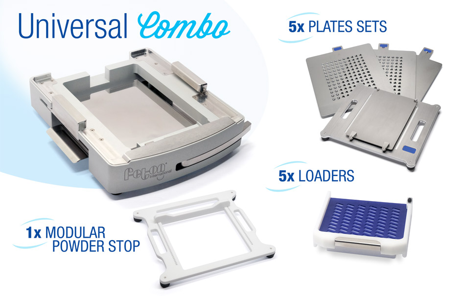 Universal Filler combo containing plates sets and loaders for 5 capsule sizes