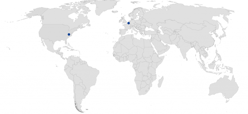 World map showing the locations of Feton Headquarters in Belgium and US office in North Carolina.